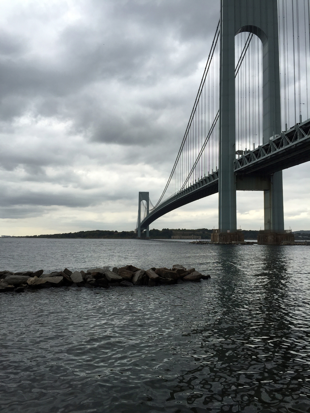 The Verrazano Bridge from Denyse Warf during high tide on a cloudy September Tuesday - September 22, 2015