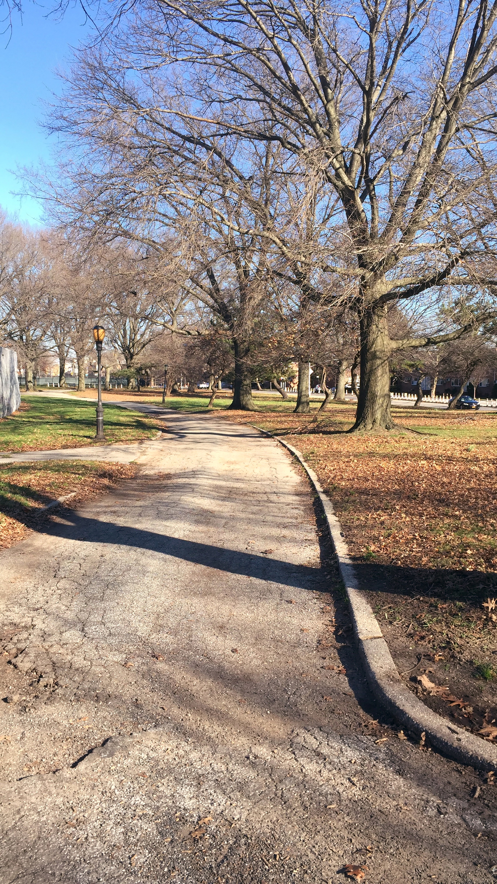 A walking path along the back of Dyker Park in Brooklyn - January 3, 2016