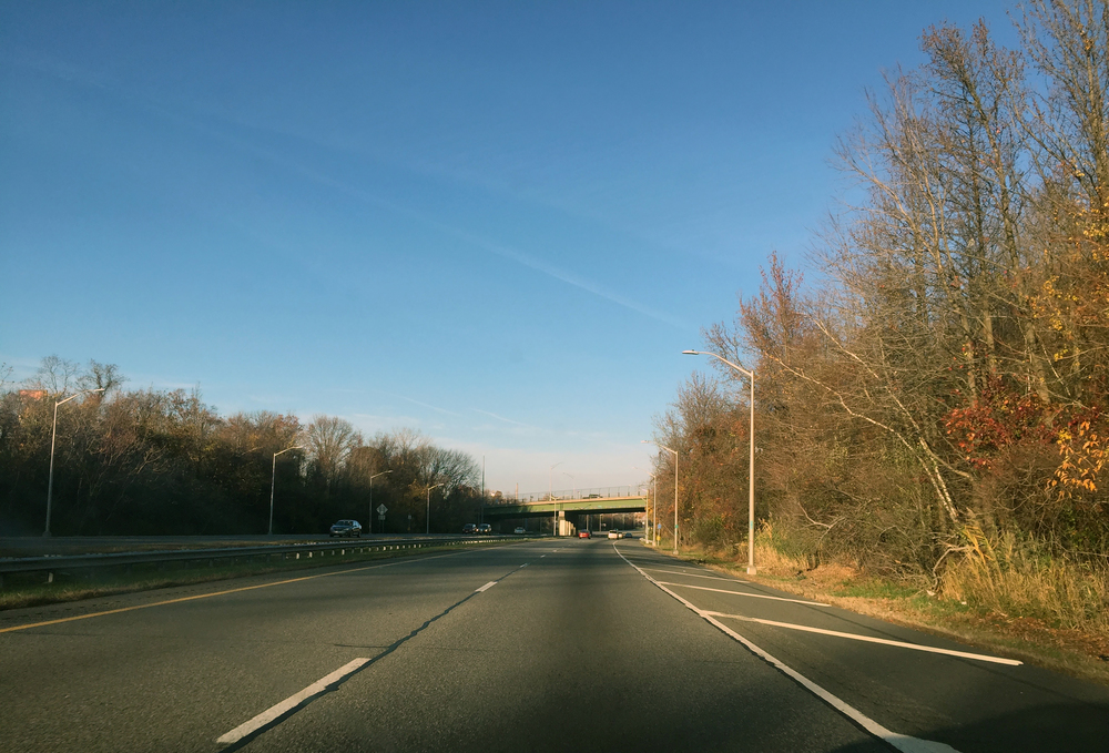 A crisp late autumn afternoon along Interstate 440 near the Island of Meadows on the west shore of Staten Island - November 21, 2015