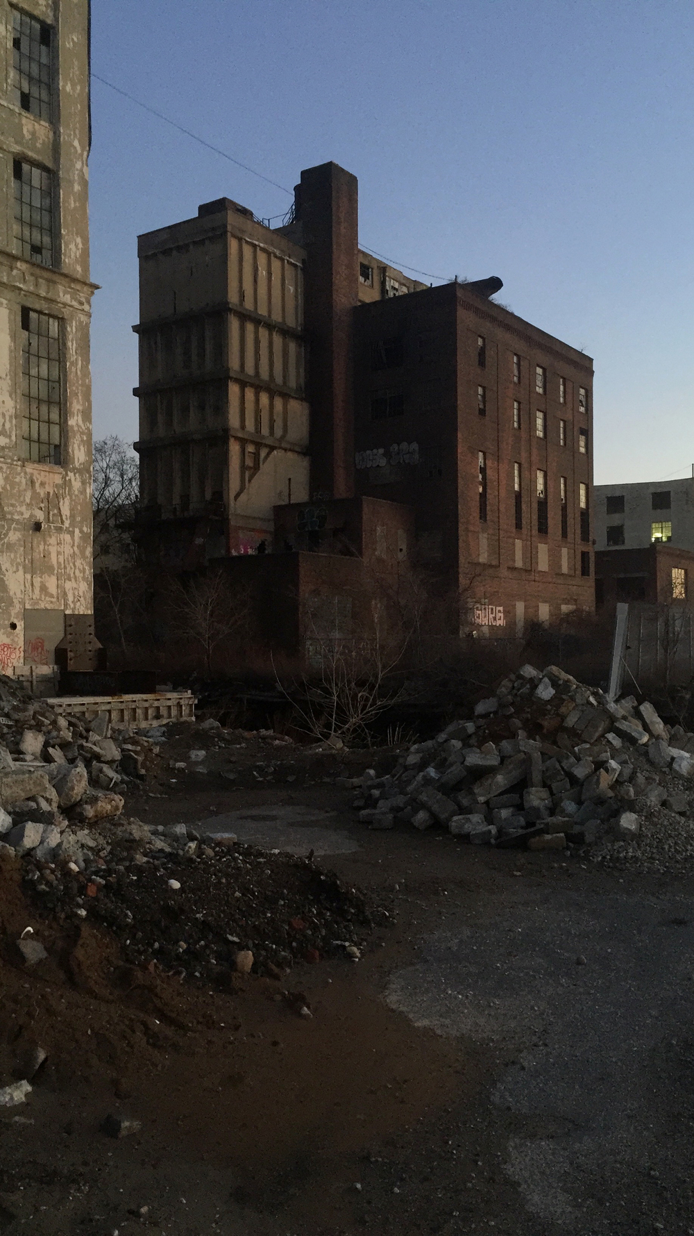 Abandoned buildings and rubble create a gritty atmosphere on the waterfront of one of the last remaining industrial areas of Brooklyn in far western Sunset Park - March 15, 2016