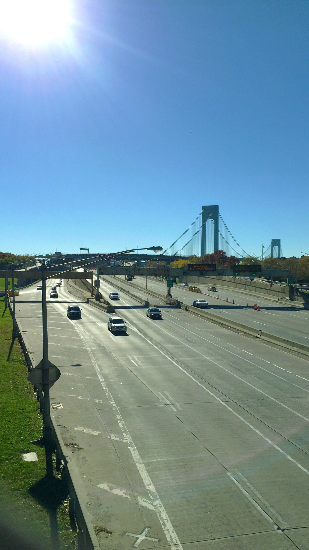 Looking towards the Verrazano Bridge from 92nd street in Bay Ridge - November 3, 2015