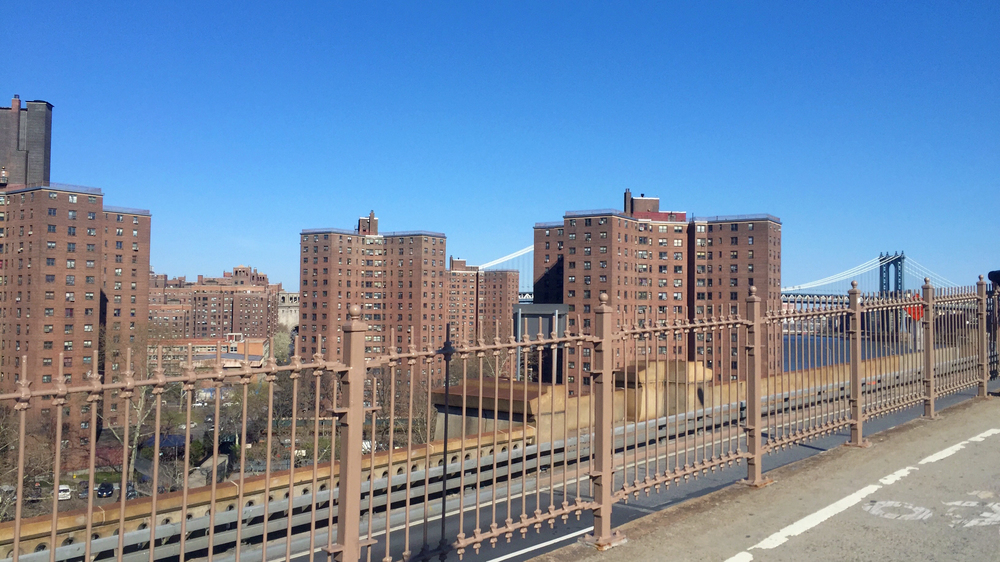 Looking towards the Hamilton-Madison Houses on the Manhattan side of the Brooklyn Bridge - April 10, 2016