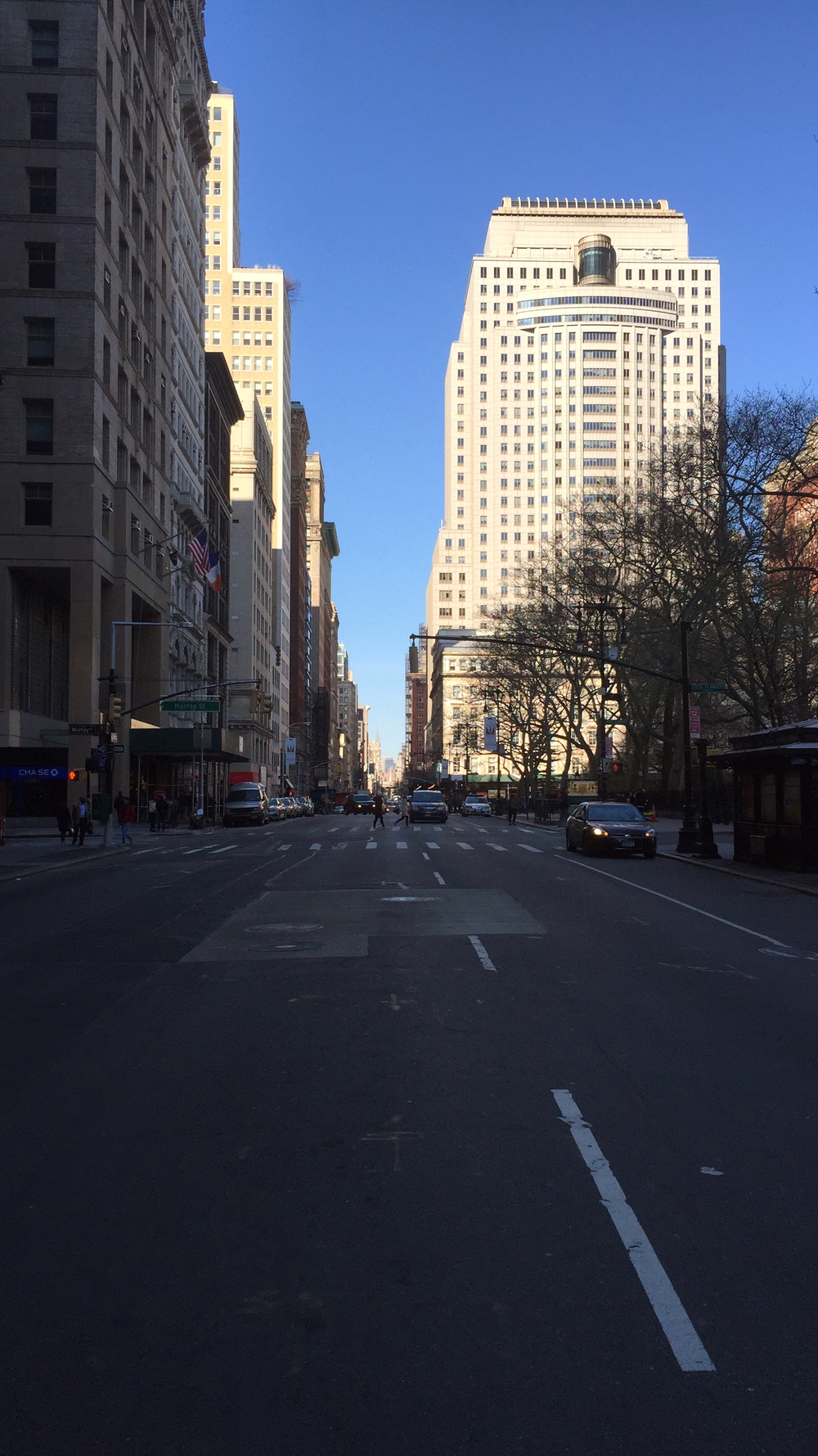 Looking north on Broadway towards Murray Street, from Park Place on a clear Sunday afternoon next to City Hall Park- April 10, 2016