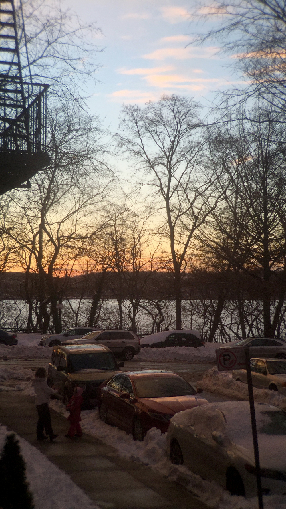 A painterly sunset along Shore Road and the Narrows in Fort Hamilton, Brooklyn - January 24, 2016