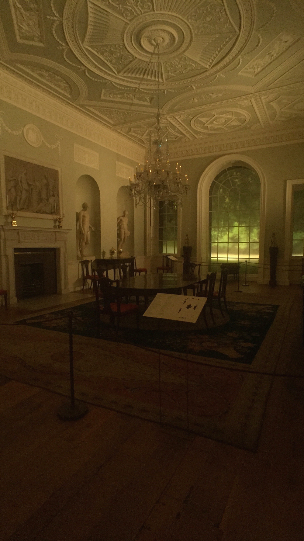 A late 18th century dining room on the upper floors of the European Sculpture and Decorative Arts Wing