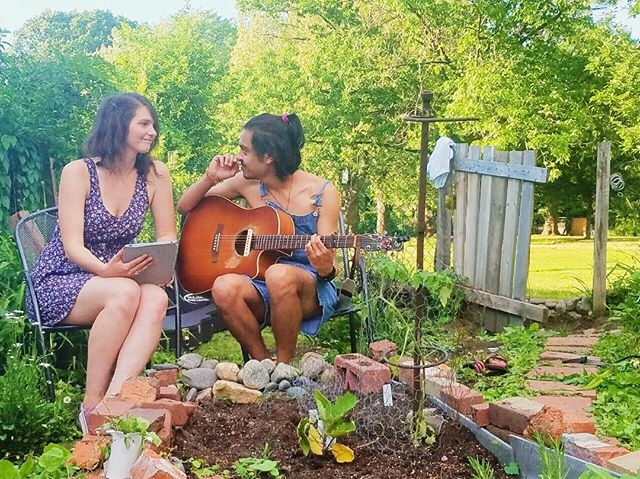 "6.24 | Bran & Friends. I can't fully articulate how important performing with that ""& friends"" is to me. I love these cats a lot. Here's one of my gems, @kirstenstockel13. 💛 We performed ""The Scientist"" yesterday in Gracie's Garden (live stream on my fb) and we'll be uploading a cool video this week. 🌱😘🐻 pic by baby mama @krustyweinerz"