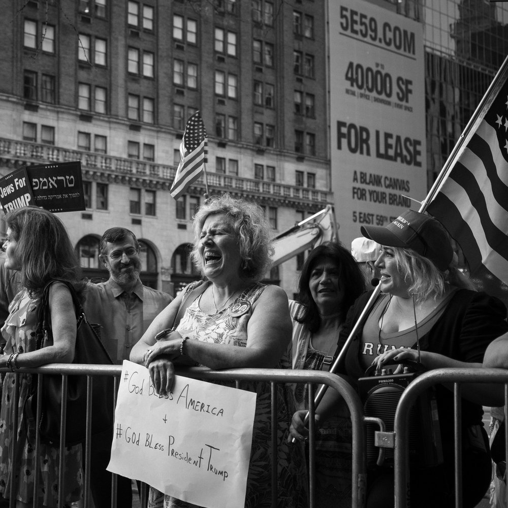 trump supporters counterprotest outside trump tower, 8.17