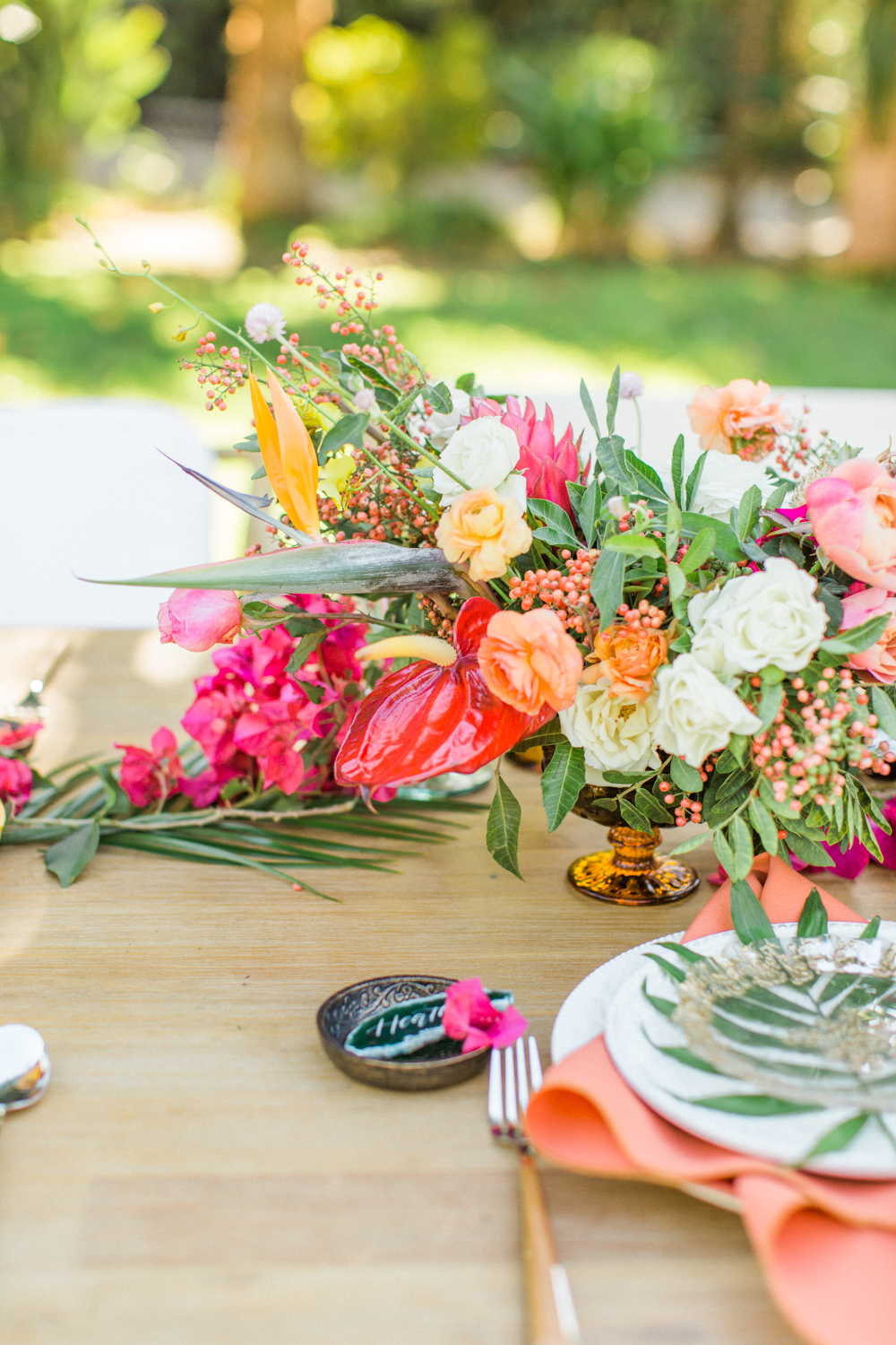 Tropical table arrangement at a Retreat Malibu wedding