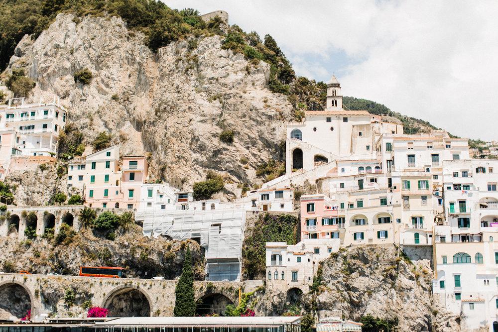Print of small pastel village along the Amalfi Coast.