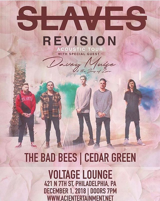 December 1st @voltagephilly we will be opening for @slavesofficial. #johnnycraig #voltagelounge #phillymusic #pollinated