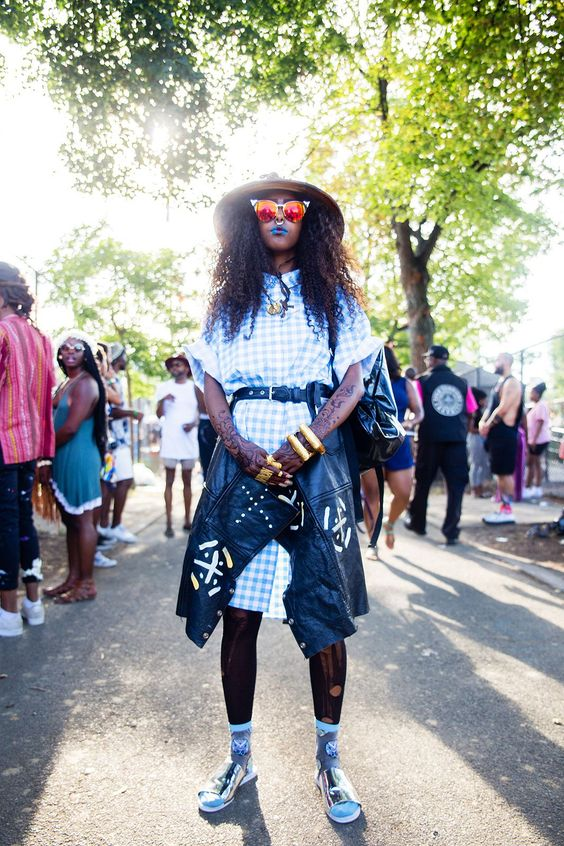 When gingham meets Malian symbols on a leather  Photo by Rockie Nolan for Refinery 29  1/2 of  mahoyoofficial
