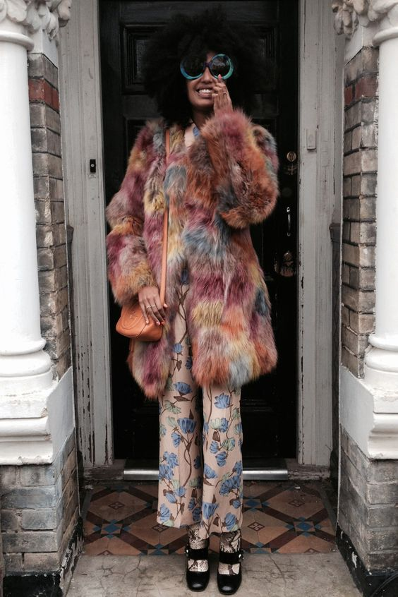 Julia Sarr Jamois with the furry coat