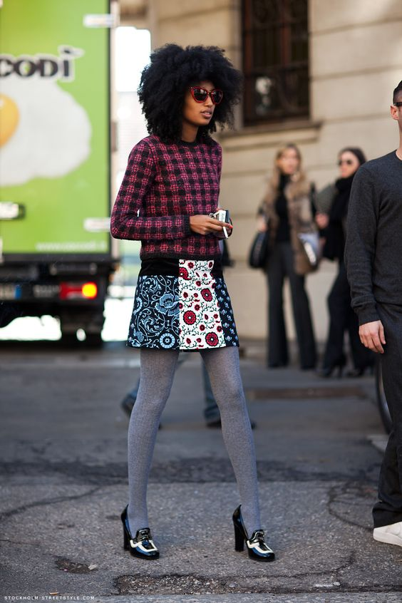 Julia Sarr Jamois shows another style trick. WINTER TIGHTS AND MIX PRINTS WITH A WARMER PRINTED FABRIC LIKE WOOL