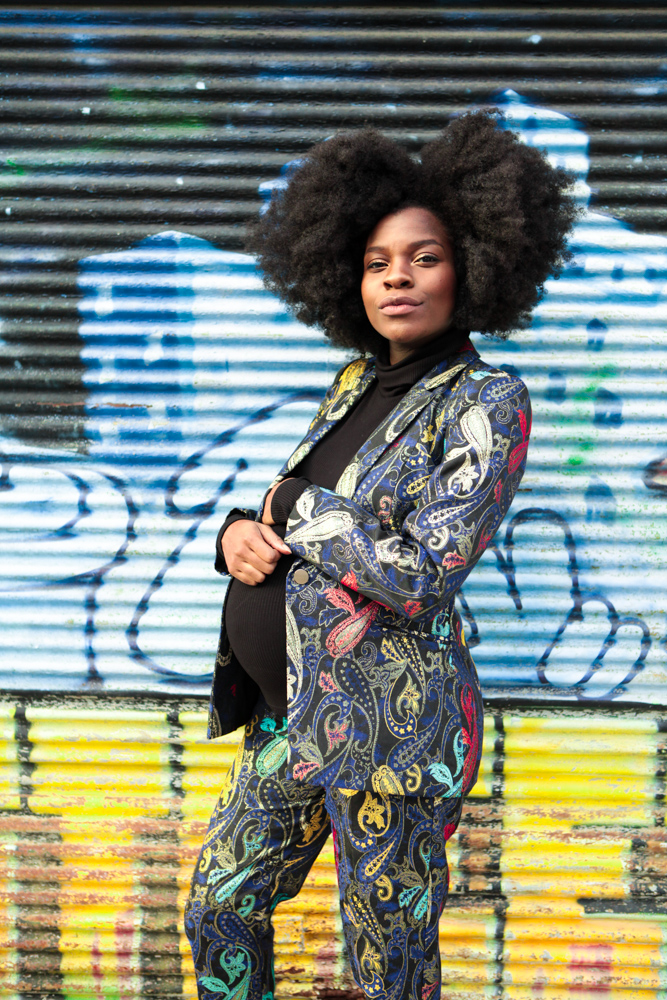 One of my absolute favorite blogger Freddie Harrel in a printed baroque pant suit with another style trick THE TURTLENECK via  here