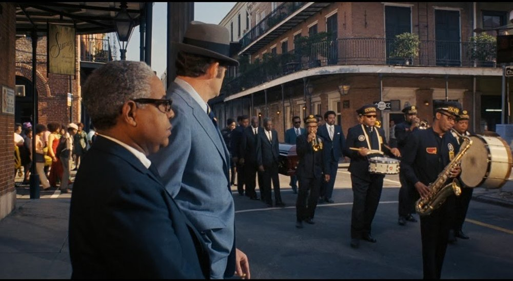 A still of the funeral scene on the James Bond film 'Live and Let Die'