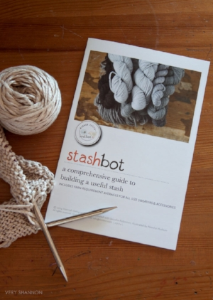 So many of us visit festivals and other yarn stores on various trips and find yarns we can't live without. Stashbot is your yarn shopping companion!  It is a comprehensive guide to determine how much yarn you should buy.  Get amounts for all types of sweaters, hats, socks, neckwear, and mittens.  This small handbook is a comprehensive guide that will help you build a useful stash and will pay for itself over and over again. $8.00