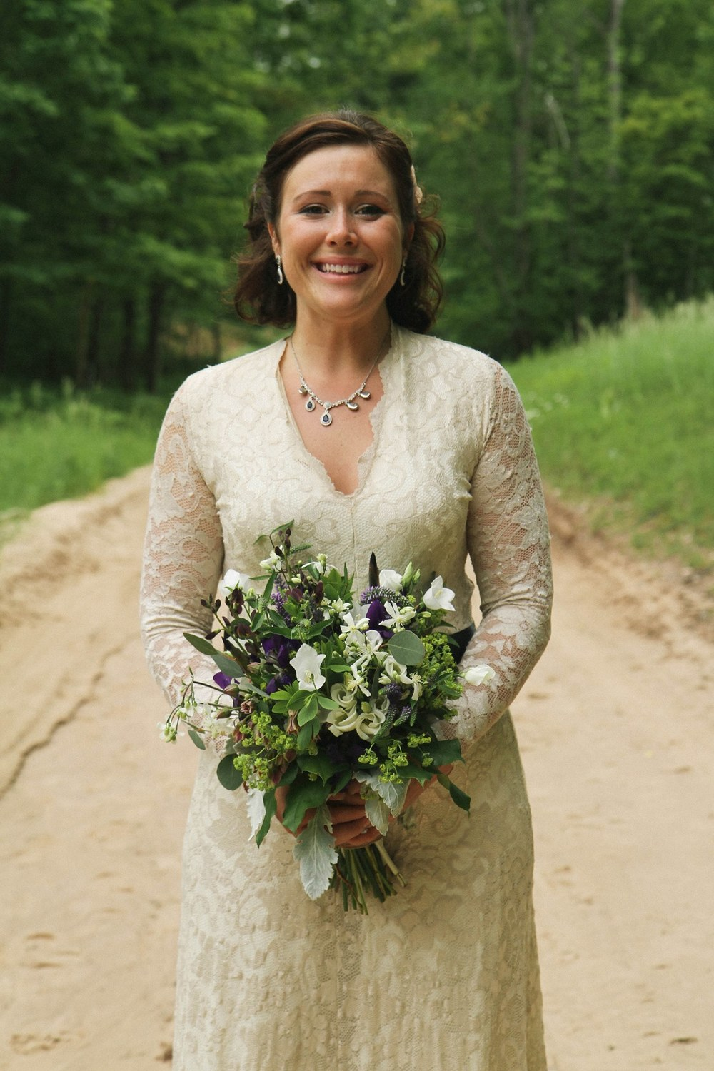 Caberfae, MI Outdoor Bridal Photos with Bridal Bouquet