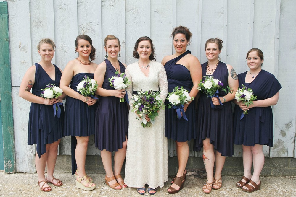 Caberfae, MI Bridesmaids in Dark Purple Dresses