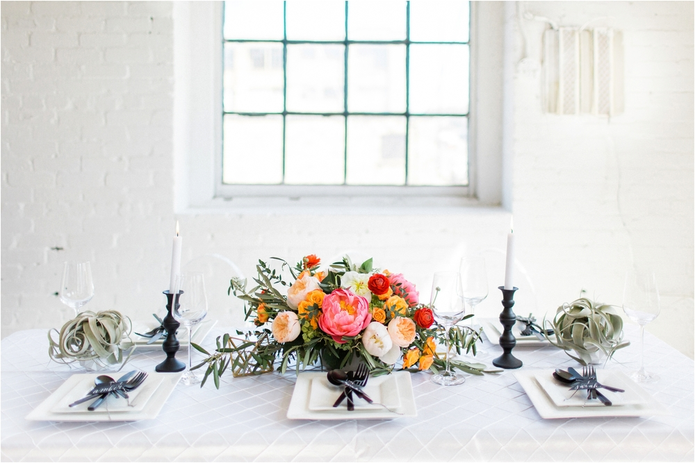 Grand Rapids, MI Warehouse Wedding with Modern Tablescape