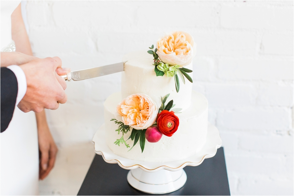 Grand Rapids, MI White Cake with Beautiful Bright Florals