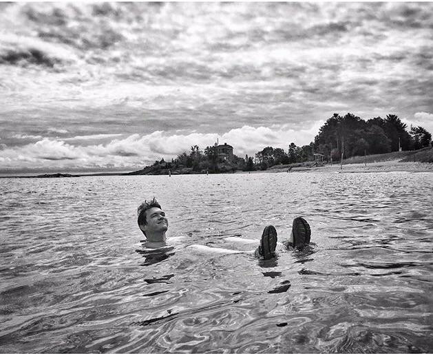Me swimming in my backyard. (📸: Mark Felix)