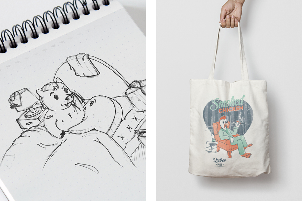 Liebers drawing and tote bag