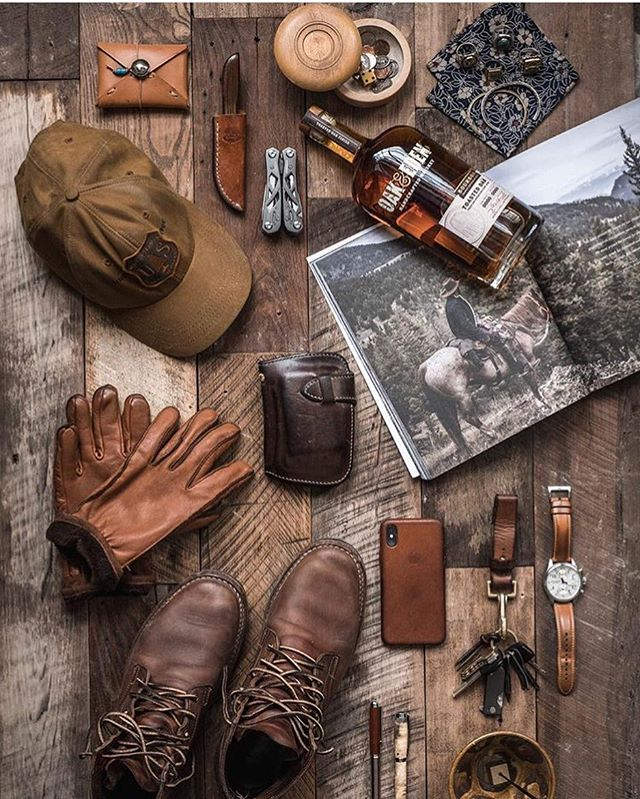A well worn Kaizen Mid Wallet in Natural CXL resting at the center of the perfect spread from our bud @whaleysworld