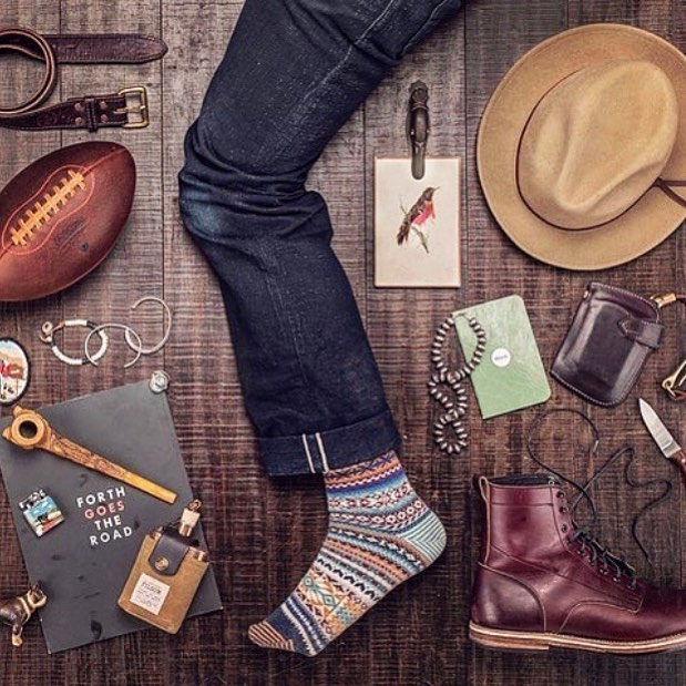 Such a killer shot from @corymahlke Showin' off some rad gear, including our Kaizen Mid Wallet in Horween Color 8 CXL