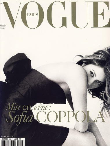 Sophia Coppola by Mario Testino on the cover of Vogue Paris, December 2004