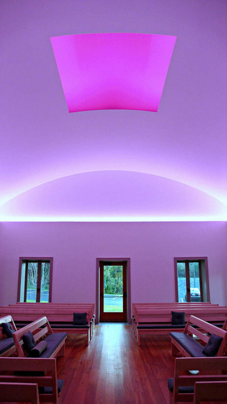 Daytime picture. When I was there,  the roof was open and I could see the night sky through that pink frame in the ceiling.