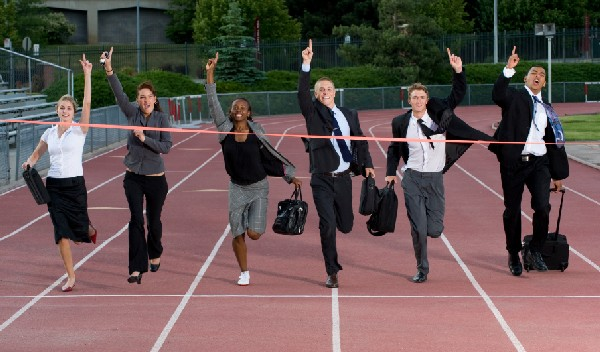 Look at these jokesters! Who do they think they are, running a race in business clothes?