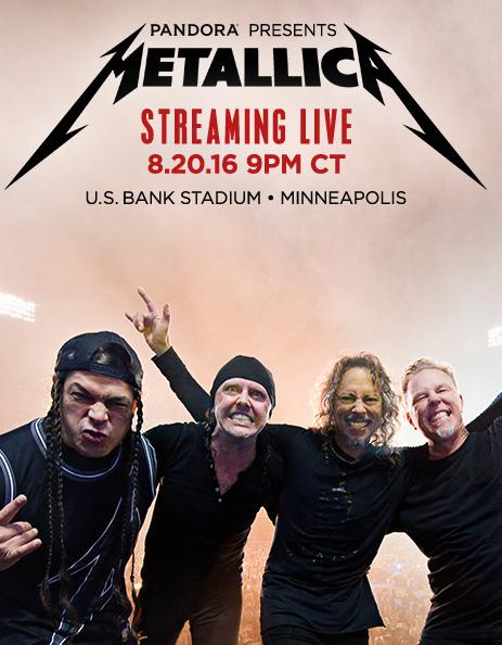 Metallica live concert event  Display Copy promoting a live-stream concert.