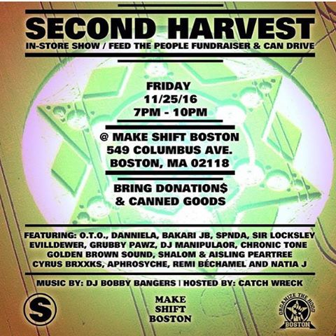 Friday 11/25 join us for Second Harvest, a Feed the People fundraiser / show / party and bring donations / canned goods !!! #fundraiser #giveback #hungry #Boston #MassMusic #BostonMusic #HipHop #Soul #Freedom #FreedomMusic