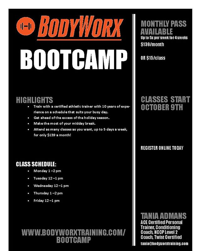 It's back!! And just in time for turkey🦃! See you next week for class #bootcamp enthusiasts! 🏋️‍♀️👍💪👊 #fridayfun #flexfriday #yougotthis #bodyworxtraining #personaltrainer #workout #instafitness #gymlife #fitness #ldnont #getdtl #livingldnont #supportlocal