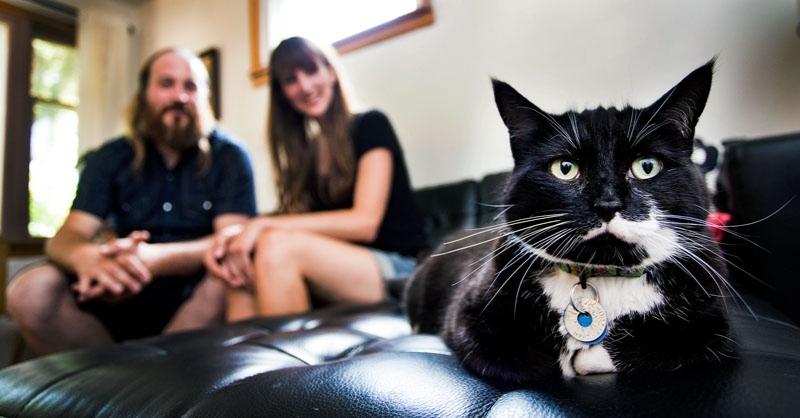 Aaron, Sarah + Millie the cat © BRYAN YOUNG/St. Albert Gazette