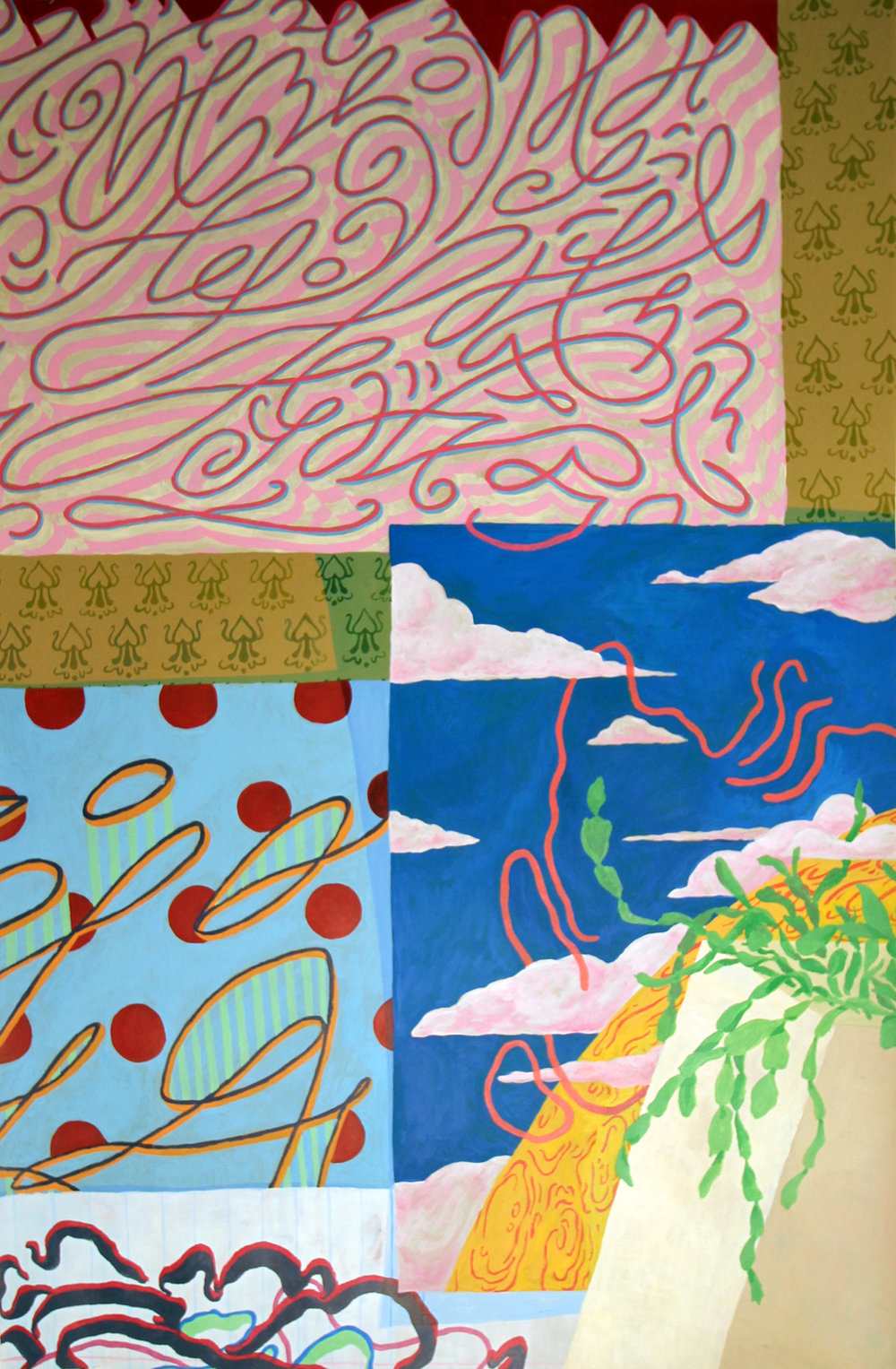 Drawings (2012-2013) & painting (2015) with wallpaper & cactus