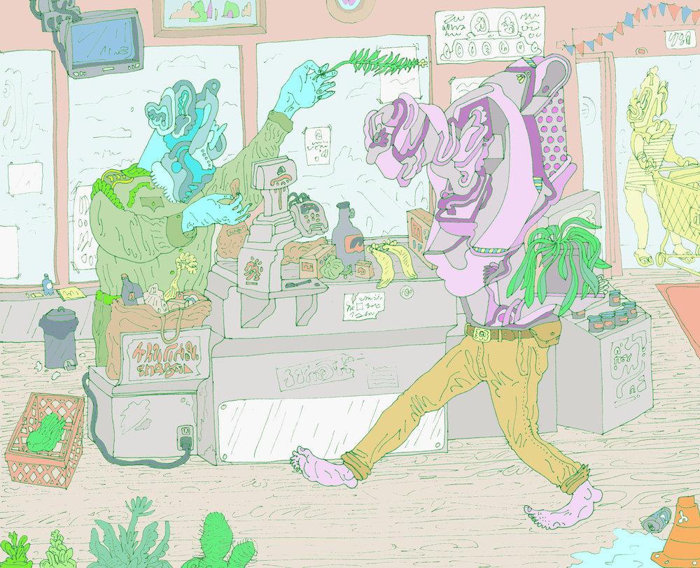 Ambulatory houseplant attempts supermarket sweep