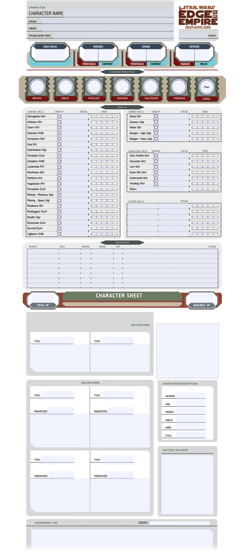 Edge Of The Empire Character Sheet Form Fillable