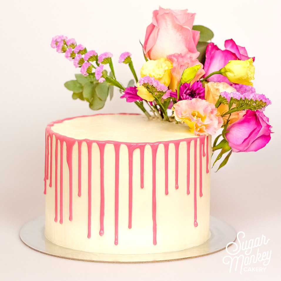 Drip cake with flowers