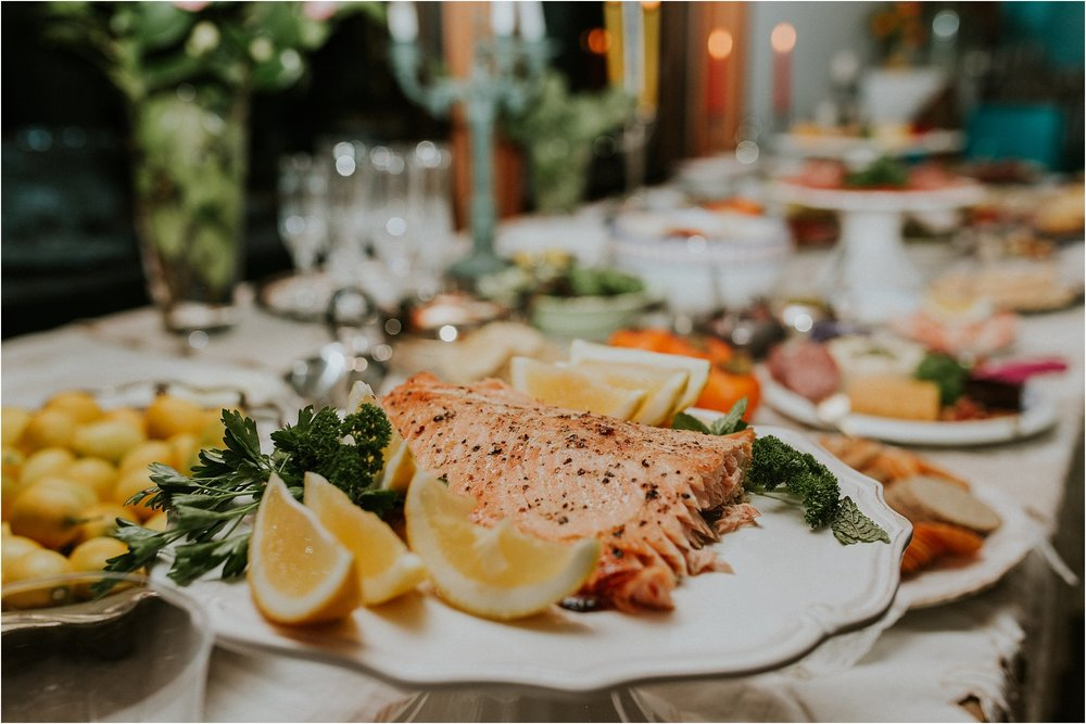 NZ Salmon on table at Martina's 40th Party Blenheim | Carmen Peter Photography