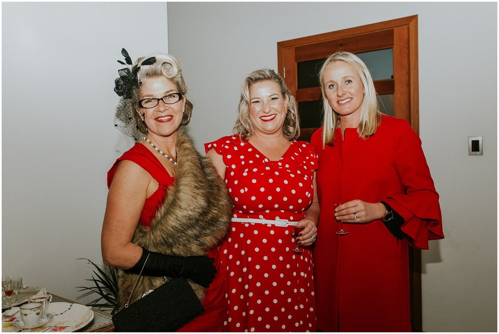 Ladies in red at 40th Party - 1940's style | Portrait and Wedding Photography| Blenheim | Carmen Peter Photography