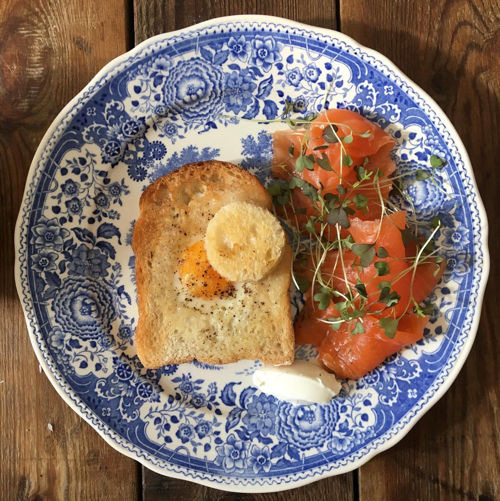 Egg in a hole & gravlax salmon