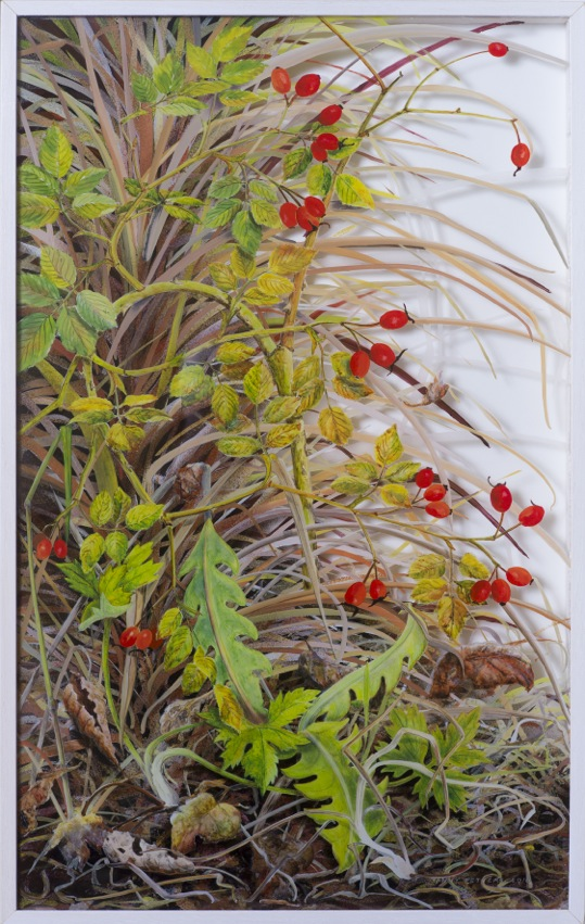 Rosehips with palm fronds, October, 60cm x 38cm, Verre Églomisé/ painting on glass, Yanny Petters 2015