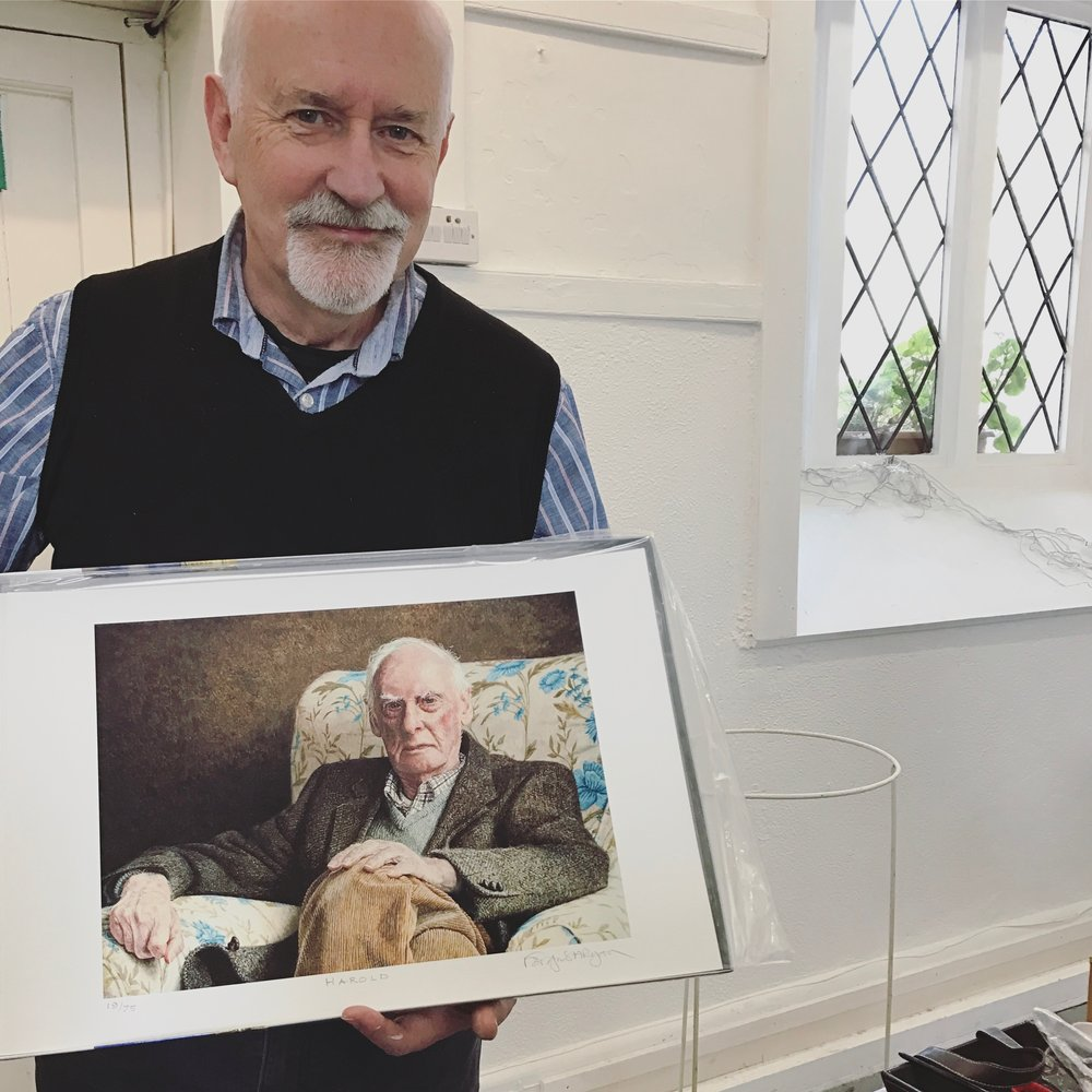 Fergus with a print of 'Harold'
