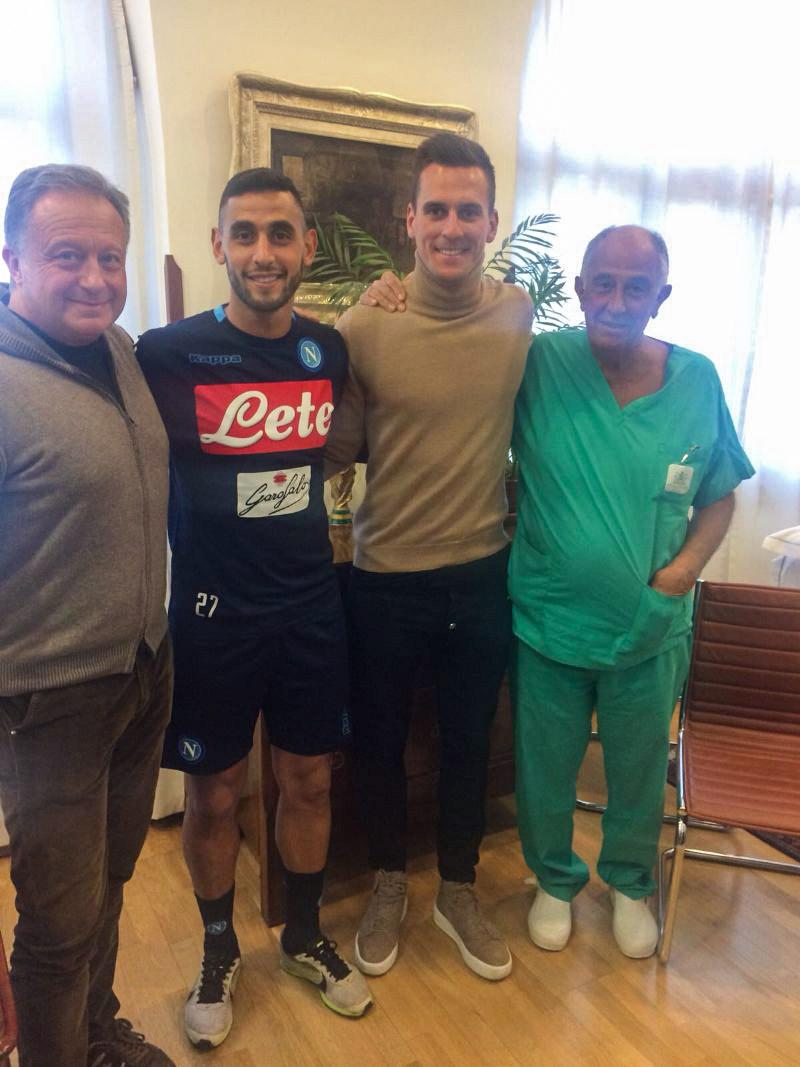 Milik e Ghoulam insieme al Professor Mariani e al medico azzurro Dott.Alfonso De Nicola a Villa Stuart
