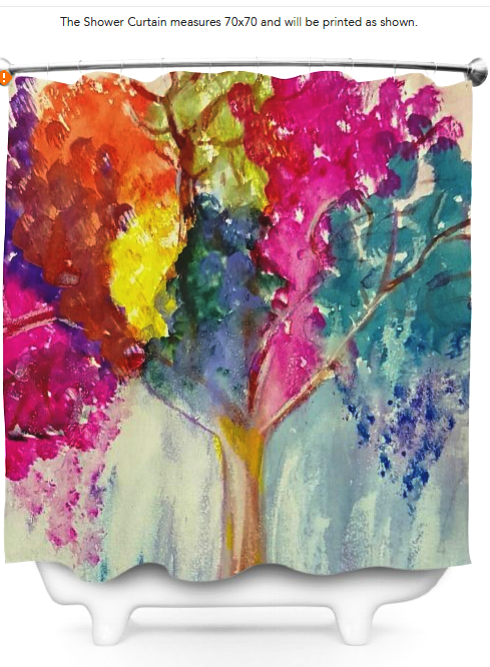 Watercolor Tree Shower Curtain