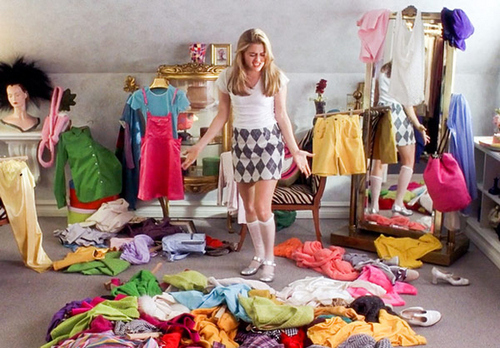 Organise your clothes into piles; keep, donate/sell or maybe.