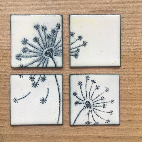 Dandelion Enamel Tiles - Set of 4 - Home Decor - Wall Art - Artwork ...