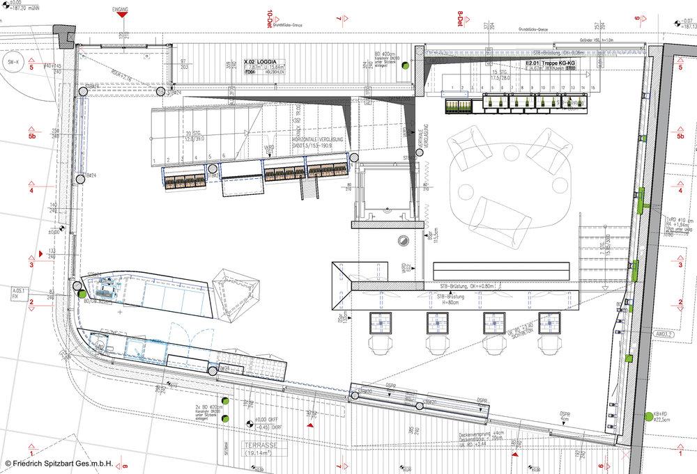 Grundriss der Shop- & Eingangsebene