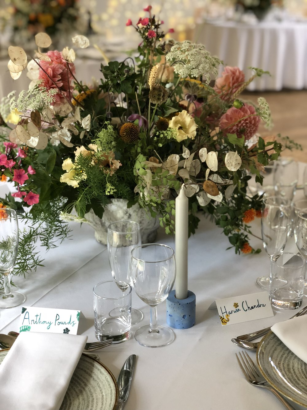 sula bailie wedding table centrepiece dahlia